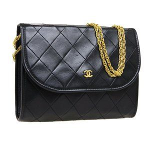 CHANEL Quilted CC Double Chain Shoulder Bag Purse
